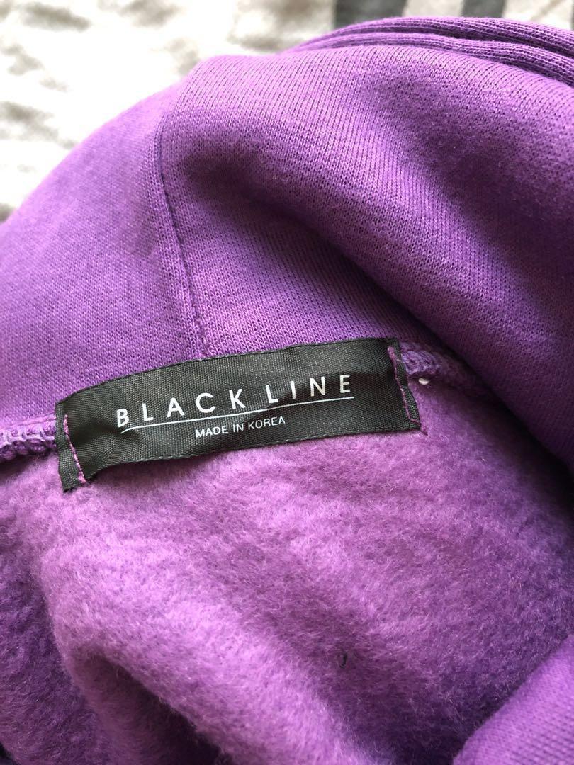 韓國🇰🇷有帽毛底衛衣紫拼黑色