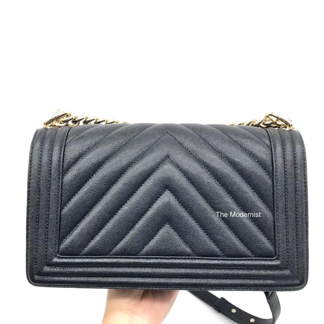 Authentic Pre-loved Chanel Caviar Leather Chevron Caviar Leather Champagne Gold Hardware