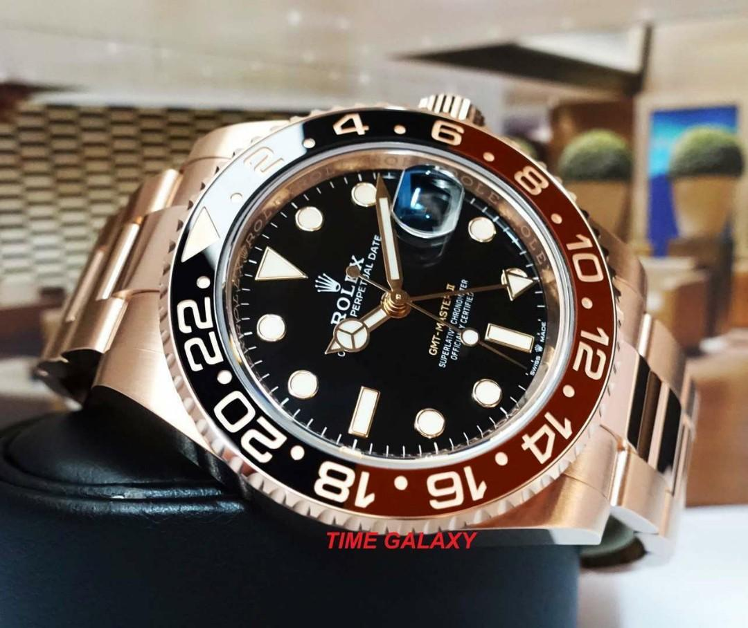 Beautiful Everose Gold Rootbeer Has Arrived!  Brand New ROLEX GMT-MASTER II 40MM Solid Everose Gold Bracelet Automatic Watch. Swiss made. Ref model : 126715CHNR