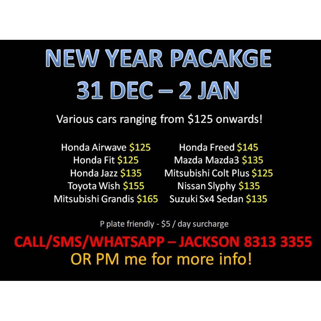CAR RENTAL NO DEPOSIT NEW YEAR PACKAGE 31 DEC - 2 JAN *P PLATE WELCOME* (Woodlands 11)