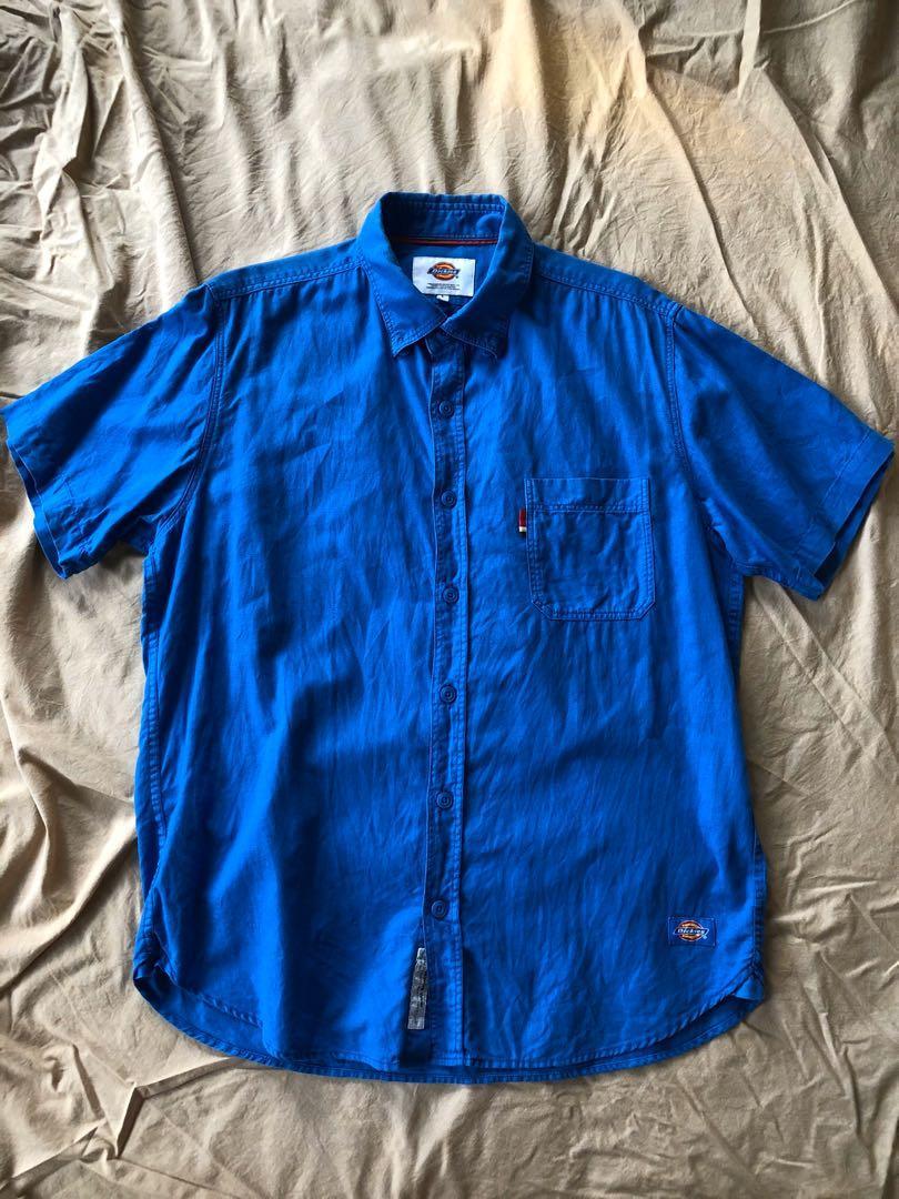 DICKIES 短袖 寶藍色 襯衫 L號