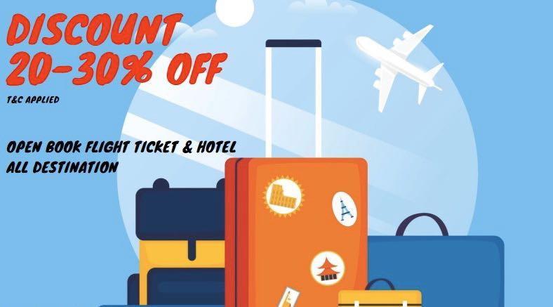 Discount 20-30% flight tix