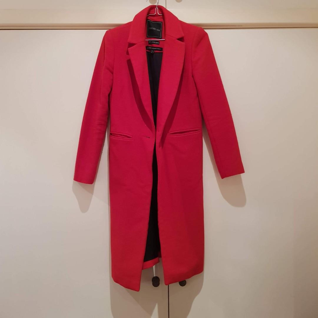 Forever New Red Double Breasted Wool Coat Size XS/6