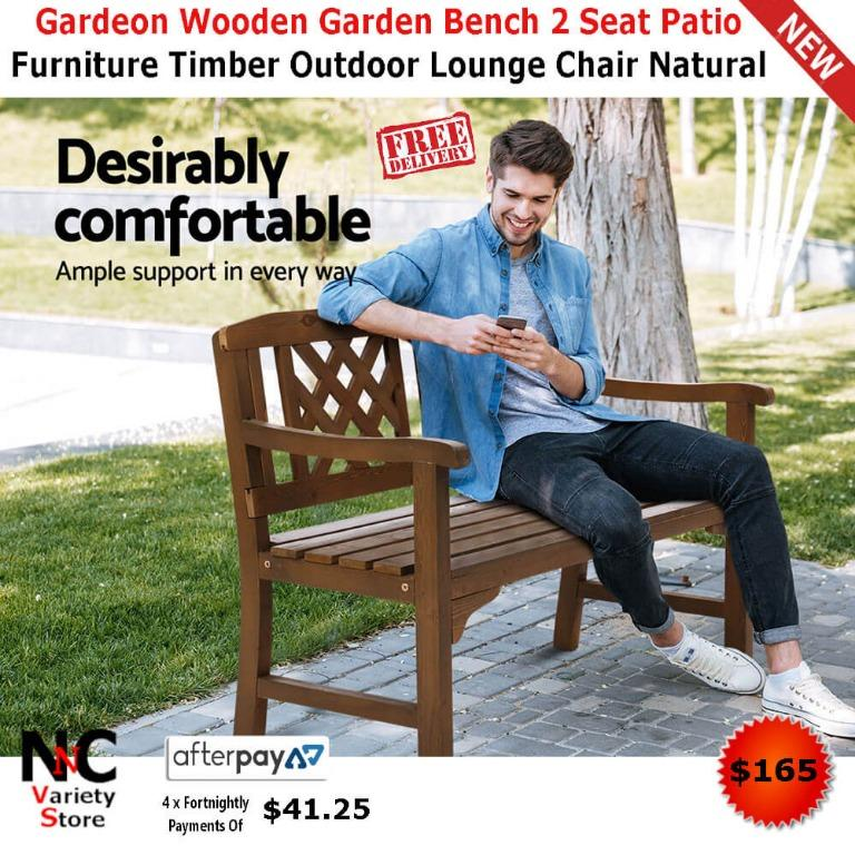 Gardeon Wooden Garden Bench 2 Seat Patio Furniture Timber Outdoor Lounge Chair Natural