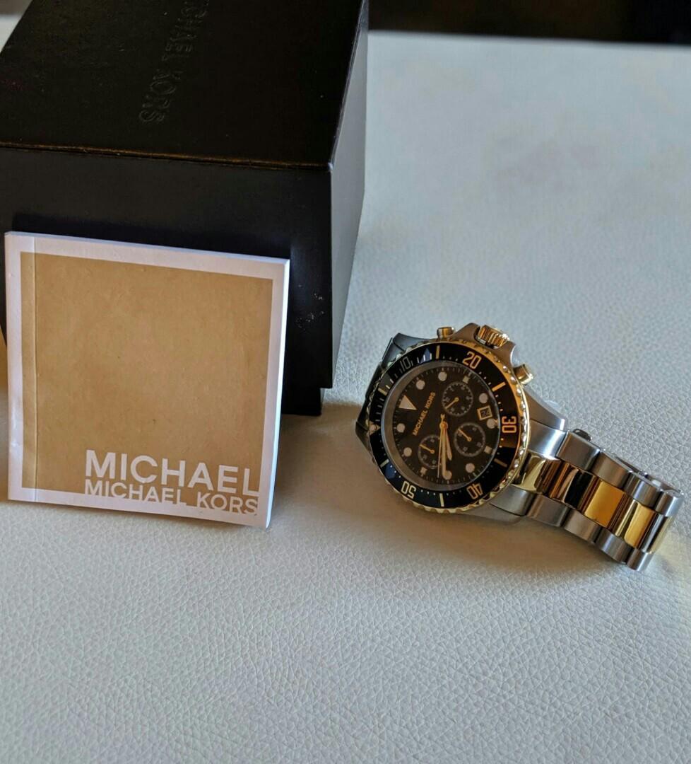 Michael kors two tone chronograph watch