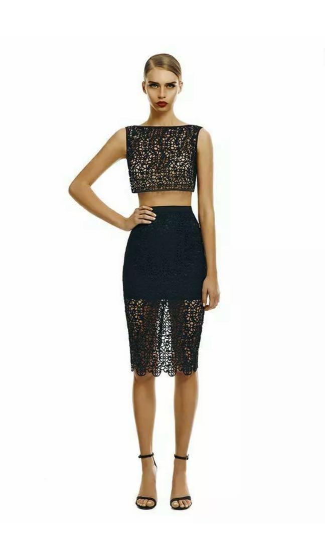 MISHA COLLECTION Valentina Crochet Set Black Zipper Crop Top & Skirt sz XS