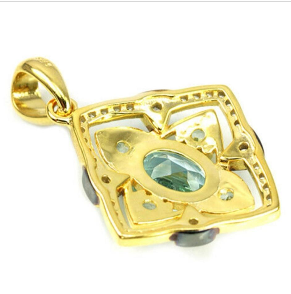 NATURAL PENDANT OVAL - ROUND SKY BLUE TOPAZ PLATED YELLOW & BLACK GOLD 925 STERLING PERAK ASLI IMPORT PARTY LOKET