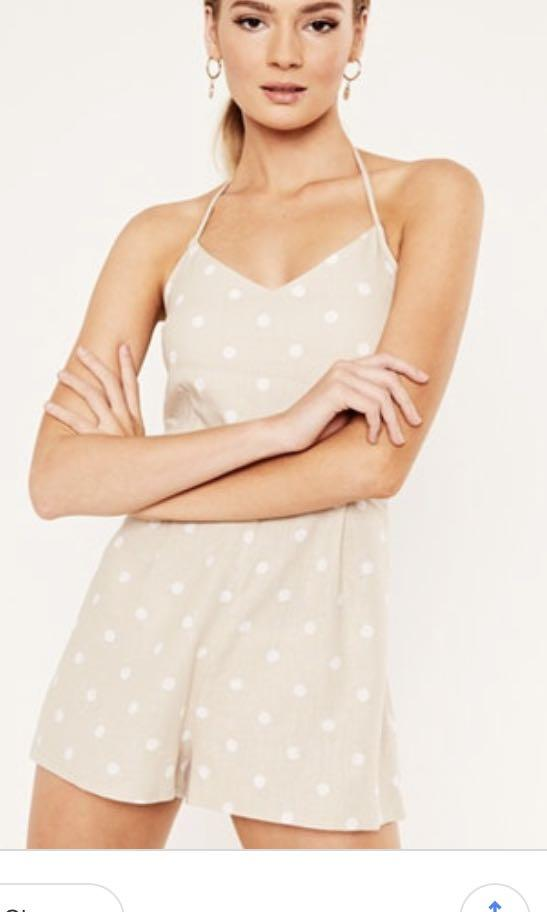 NEW GLASSONS BEIGE DOT LINEN PLAYSUIT XS