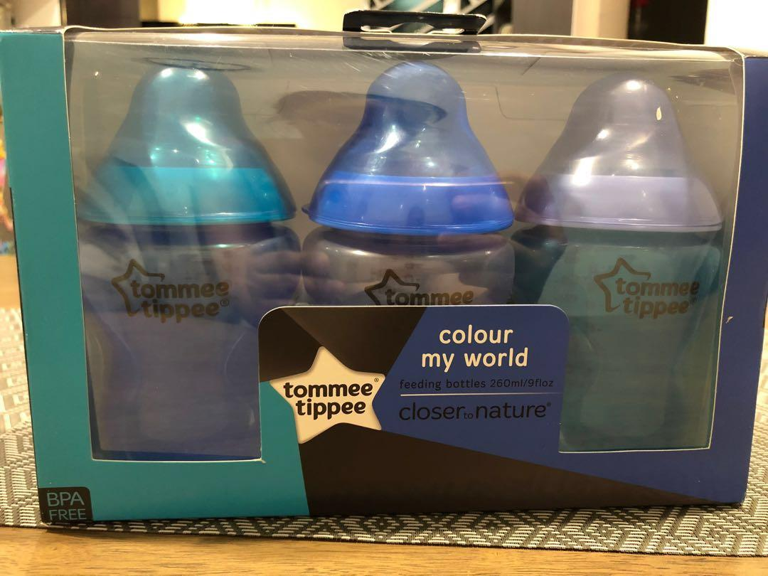 NEW Tommee Tippee Bottle Blue 3pcs