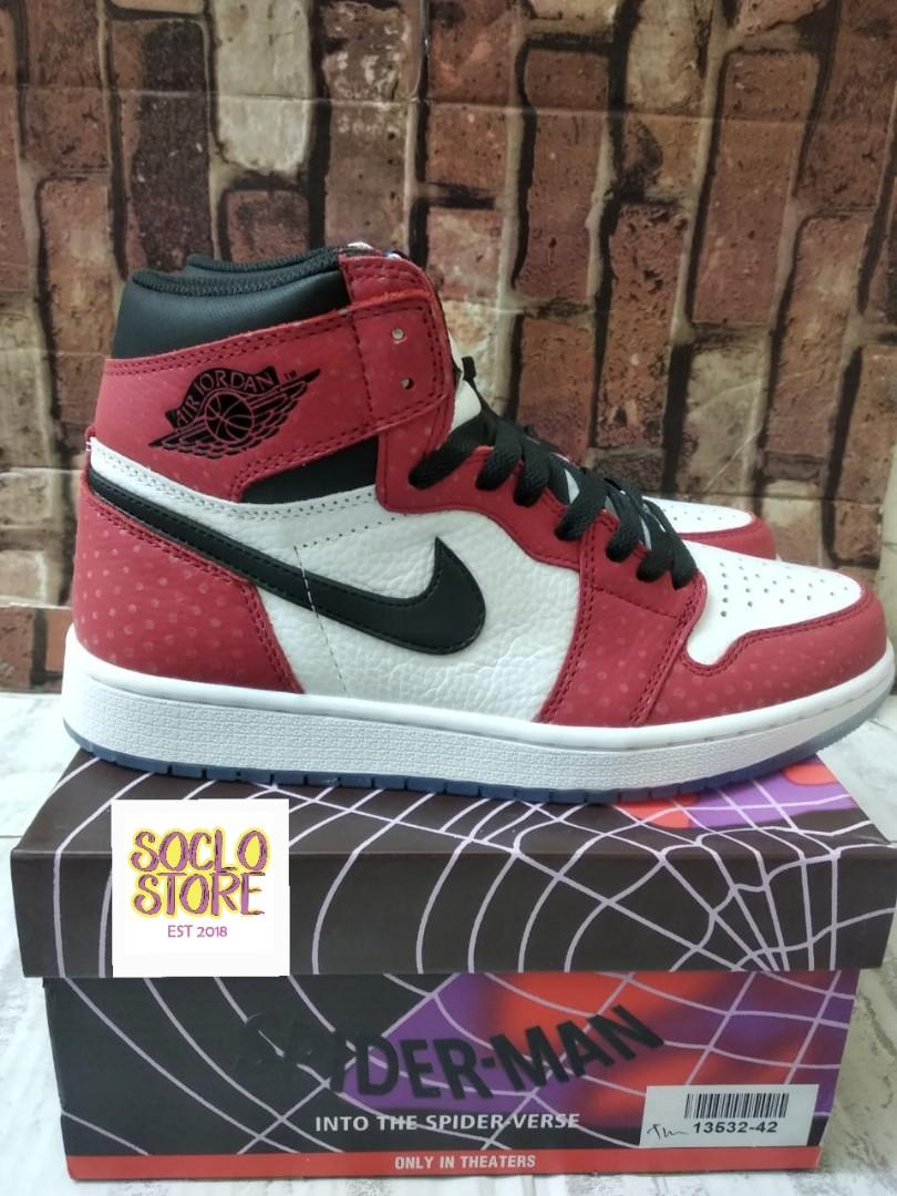Nike Air Jordan 1 Retro High Spider Man Origin Story Gym Red Black White Perfect Kicks BNIB