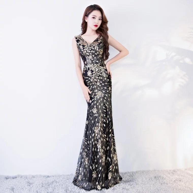 Premium gold sequin black mermaid dress dinner dress evening gown