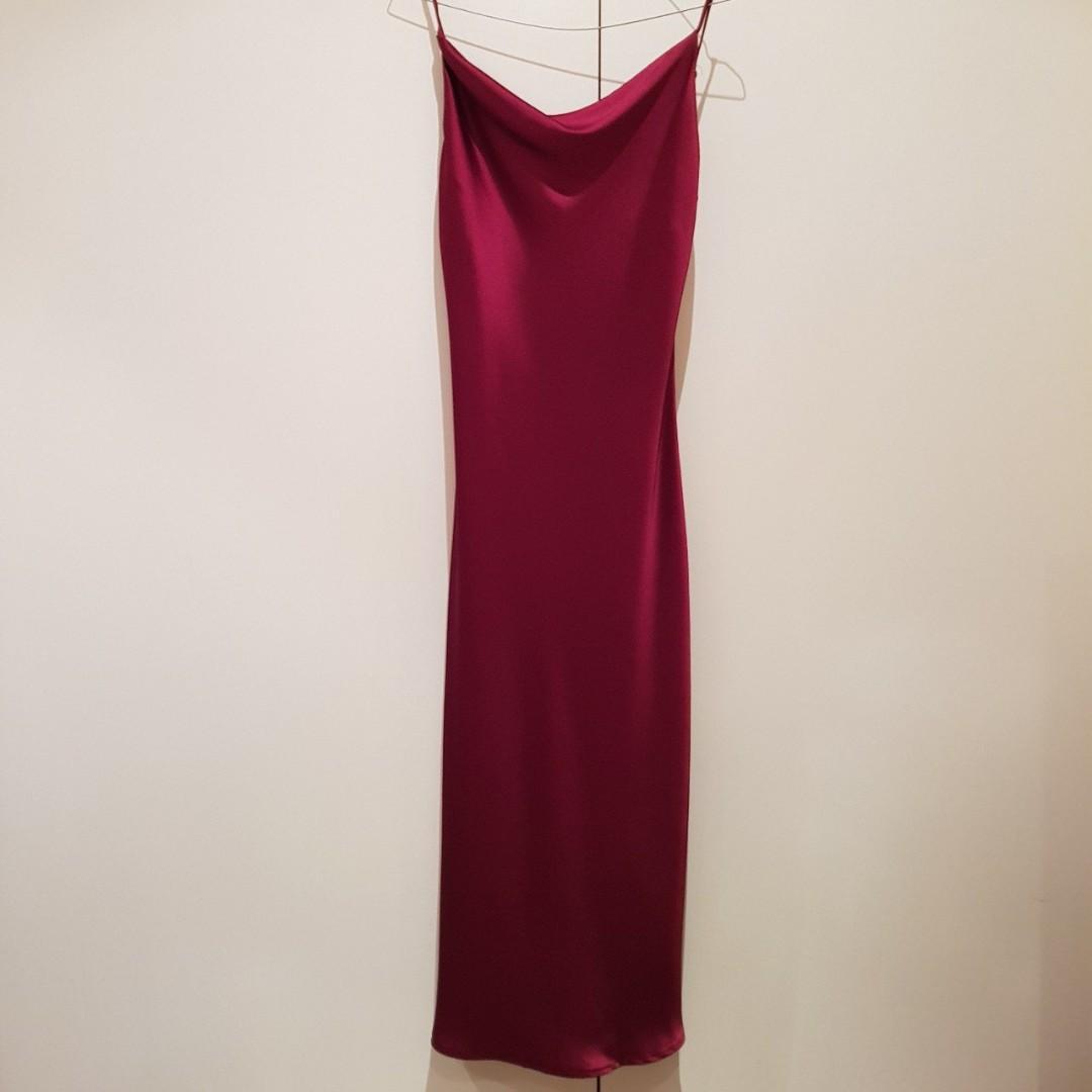 Princess Polly Betta Vanore Silky Maxi Slip Dress Size in Burgundy XS/6