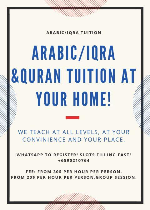 Quran/Iqra & Arabic one to one session, at your home.