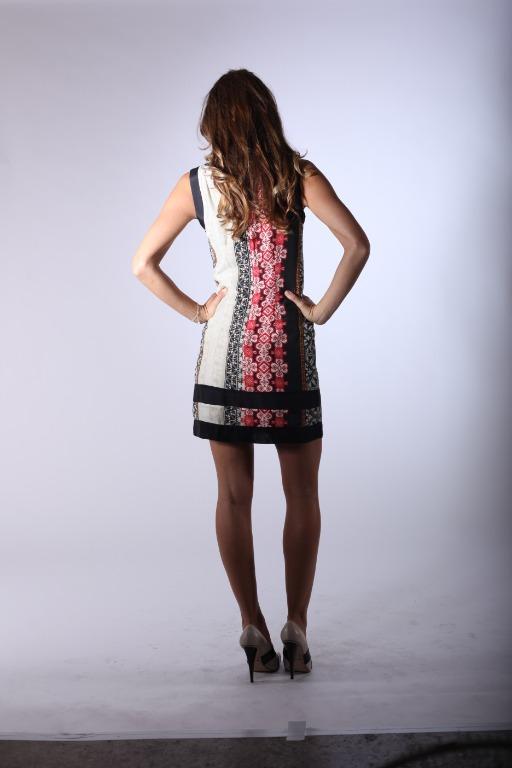 Shift Dress - One ever made Size 8, Red, Black, Beige floral print