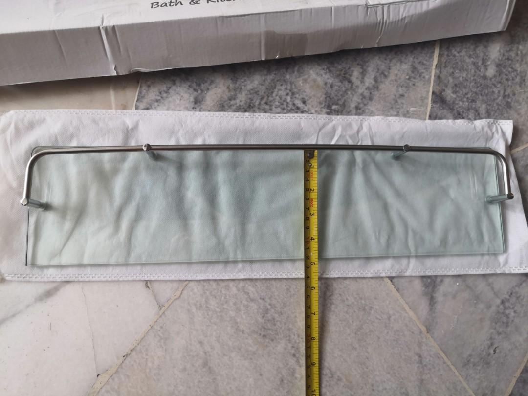 Stainless Steel Wall mounted bathroom Glass shelf