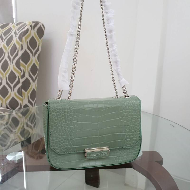 TAS CHARLES AND KEITH CROC EFFECT STRUCTURED CROSSBODY BAG CNK 240 ORIGINAL