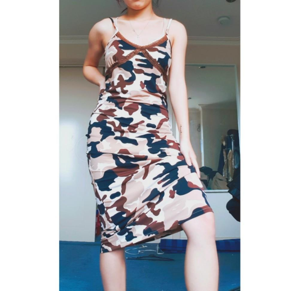 Vintage black and brown camo slip dress with lace detailing