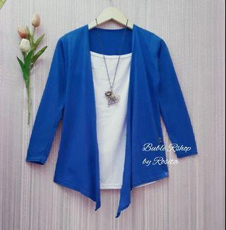 Cardigan Layer Biru Elektrik luaran cardigan import batam singapore murah preloved second bekas berkualitas