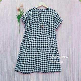 Preloved Midi Dress Tunik Tartan Gingham Kotak Hitam Putih Second Bekas Berkualitas
