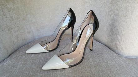 Gianvito Rossi Plexi Pump Black and White Heels
