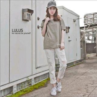 Lulu's 大腿刷破斜紋長褲 米白 25