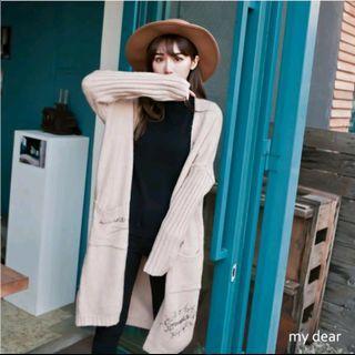 Lulu's MD韓製 雙口袋膠印手寫開襟針織長外套