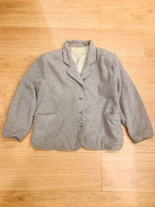 混灰羊毛尼絨西裝外套