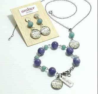 Gift Set - Themed Necklace, Bracelet, Pair of Dangke Earrings