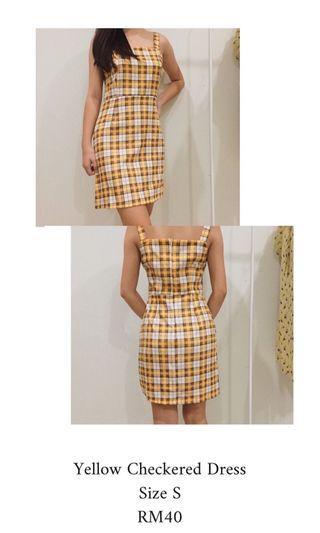 Yellow checkered dress