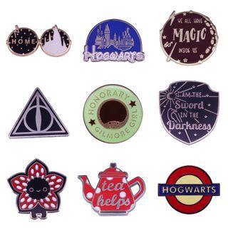 Enamel pin - Hogwarts, harry potter, stranger things demogorgon, gilmore girls, tea, book, bookish, hardcover, hardback, hard cover