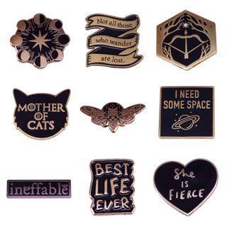 Enamel pin - bookish pin, good omen, Harry potter, game of thrones, tag hardback paperback moon