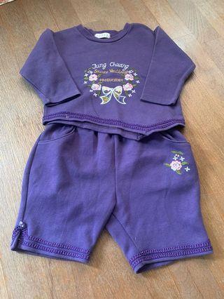 女童紫色休閒套裝