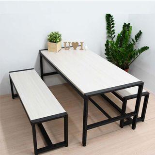 雪松白桌椅組全套(大茶几桌 / 長凳椅X2) 木芯板防潑水 台灣製造 喬艾森