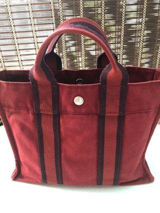 AUTHENTIC HERMES TOTE BAG CANVAS BURGUNDY.