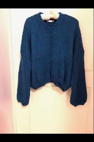 長袖河水藍綠毛衣