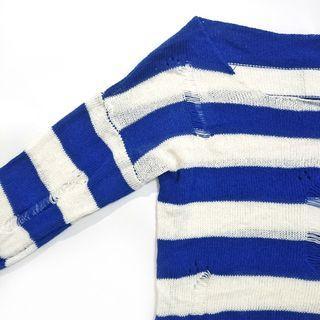 二手 女生 長袖 上衣 針織 藍 白 冬天 秋冬 條紋 二手衣服
