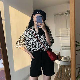 韓版 豹紋短袖襯衫上衣