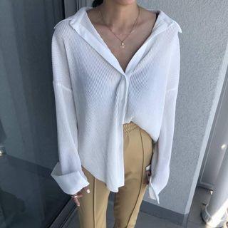 轉賣米白皺摺長袖上衣襯衫外套