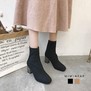 高質感襪子靴 粗跟 踝靴 短靴 高跟鞋 襪靴