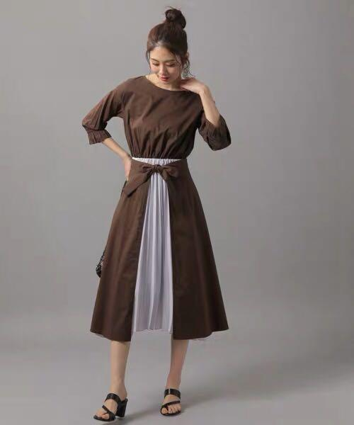 多種穿法👗2件set裝🍀日系兩件包裹式百褶恤衫裙 Japan pleated one-piece op dress brown purple dress 2pc set up