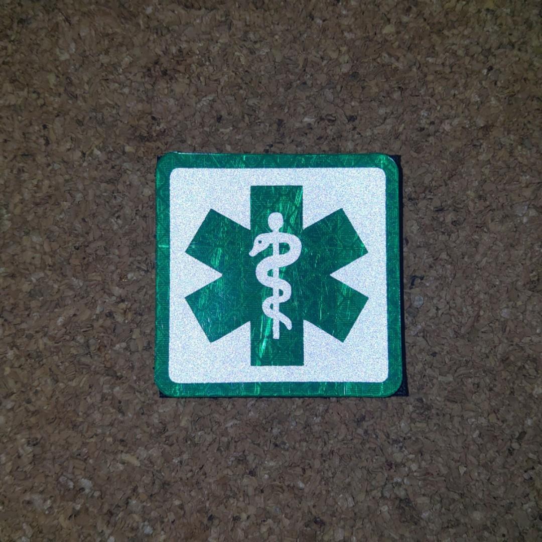 """""""急救醫護""""系列-綠生命之星魔術貼章,頭盔,背囊,反光衣,戰術背心可用"""