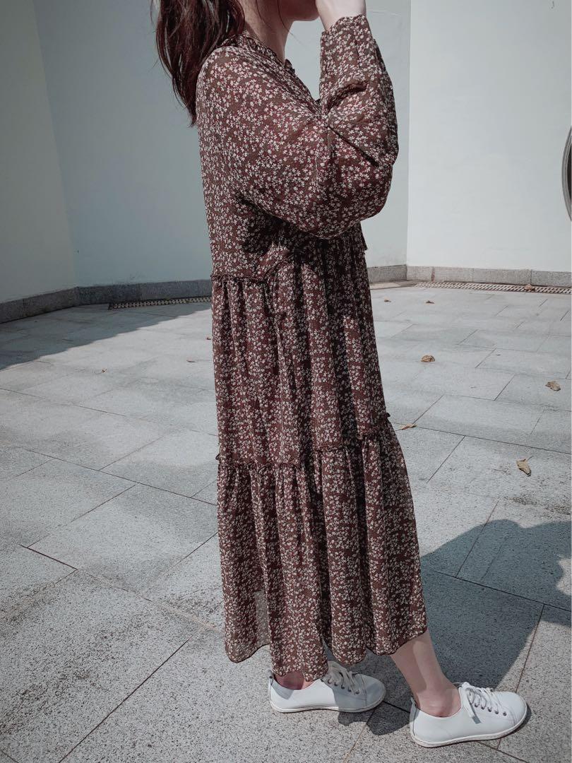 韓國大熱 復古碎花 連身長裙