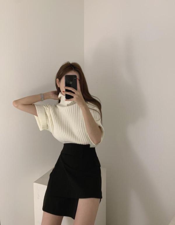 韓國官網 寬鬆翻領 洋氣灰氣質高領半袖毛衣-Euphoria Store