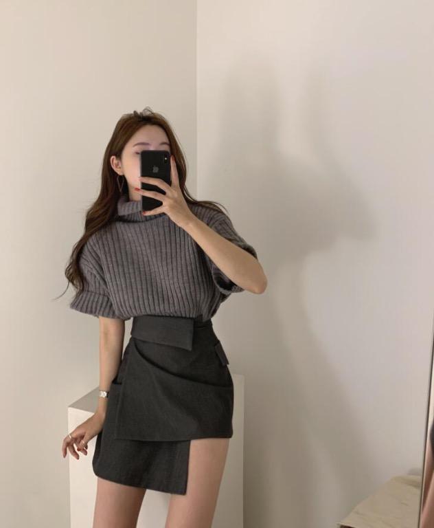 韓國官網 設計款高腰包臀下擺不對稱迷你短裙半身裙-Euphoria Store