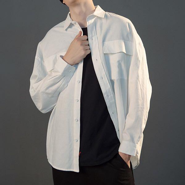 🇺🇸🇯🇵 Size: M-L 歐美日系男女裝情侶百搭工裝長袖恤衫