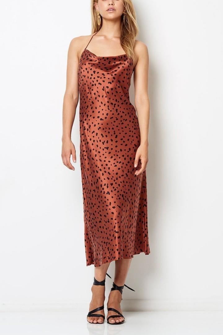 Bec & Bridge Wild Cat Silk Halter Midi Dress - Size 6 BNWOT RRP $380