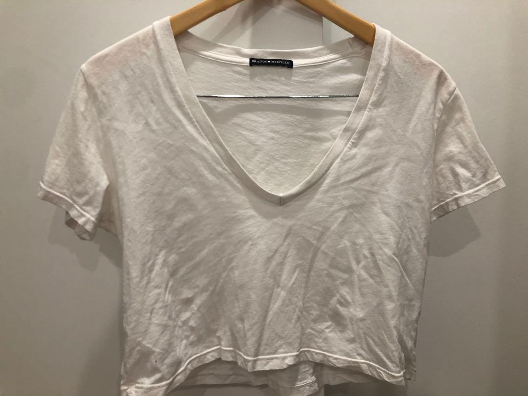 Brandy melville cotton cropped tee white with a deep v-neck