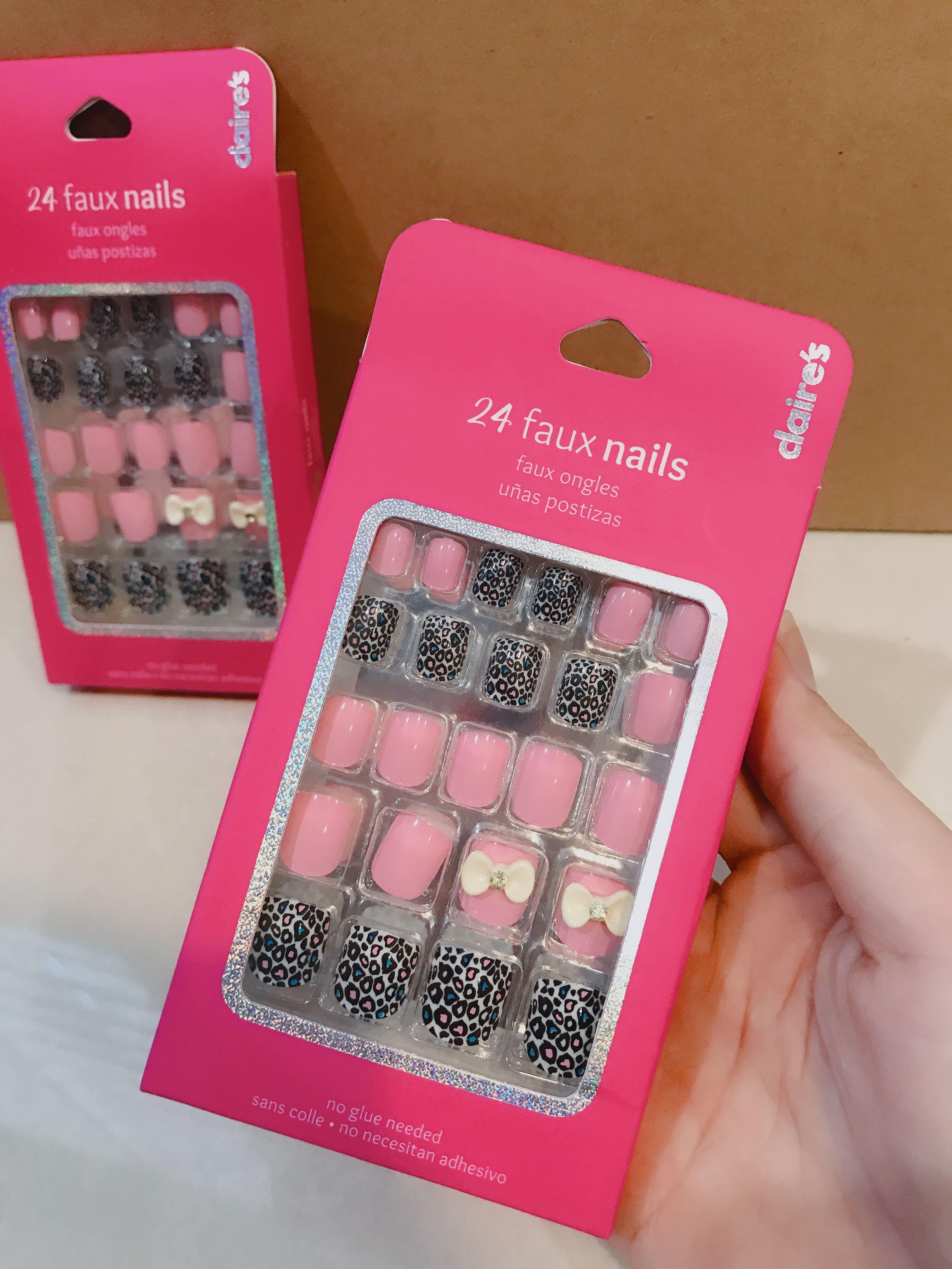 Claire's Woman Girls Black Leopard Colorful And Pink With 3D Cute Ribbon  24 pcs Pre Glue Faux Fake Nail Art Fake Nails