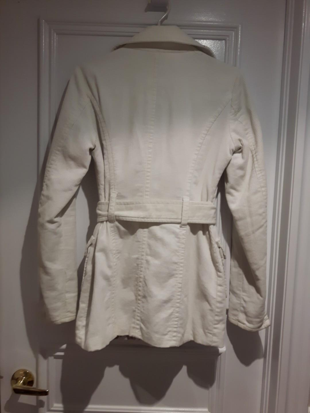 Corduroy Trench Coat w Hoodie-Short Length White Size S