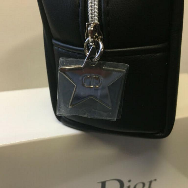 DIOR MAKEUP BAG / POUCH with Dior Box and Silver Star zipper pull with CD logo